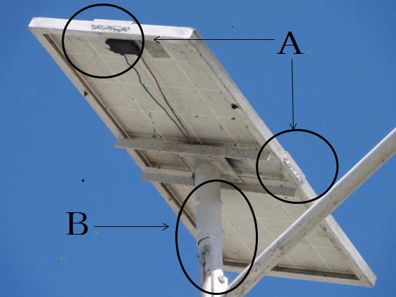 写真1: ソーラーパネルの防犯対策